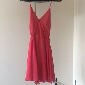 Bright pink open back dress